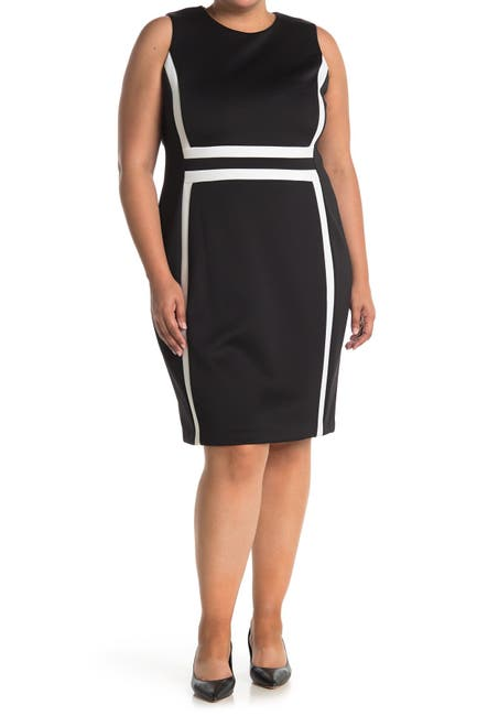 Image of Calvin Klein Colorblock Sleeveless Sheath Dress
