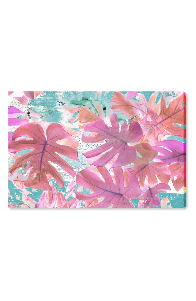 OLIVER GAL Vivid Leaves Canvas Wall Art, Main, color, PINK