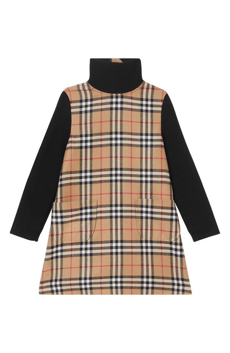 BURBERRY Adeline Check Turtleneck Long Sleeve Dress, Main, color, ARCHIVE BEIGE CHECK