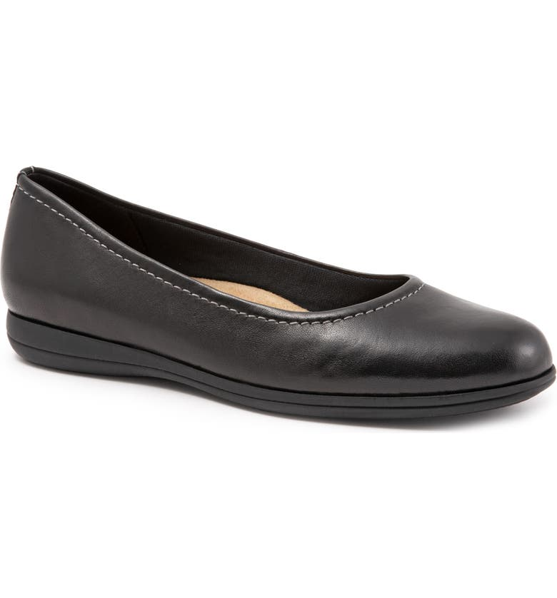TROTTERS Darcey Skimmer Flat, Main, color, BLACK LEATHER