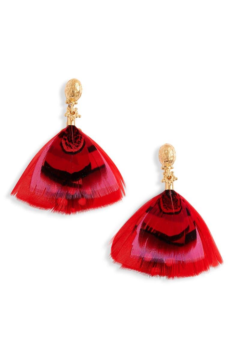 GAS BIJOUX Bermude Feather Hoop Earrings, Main, color, MULTI/ PINK