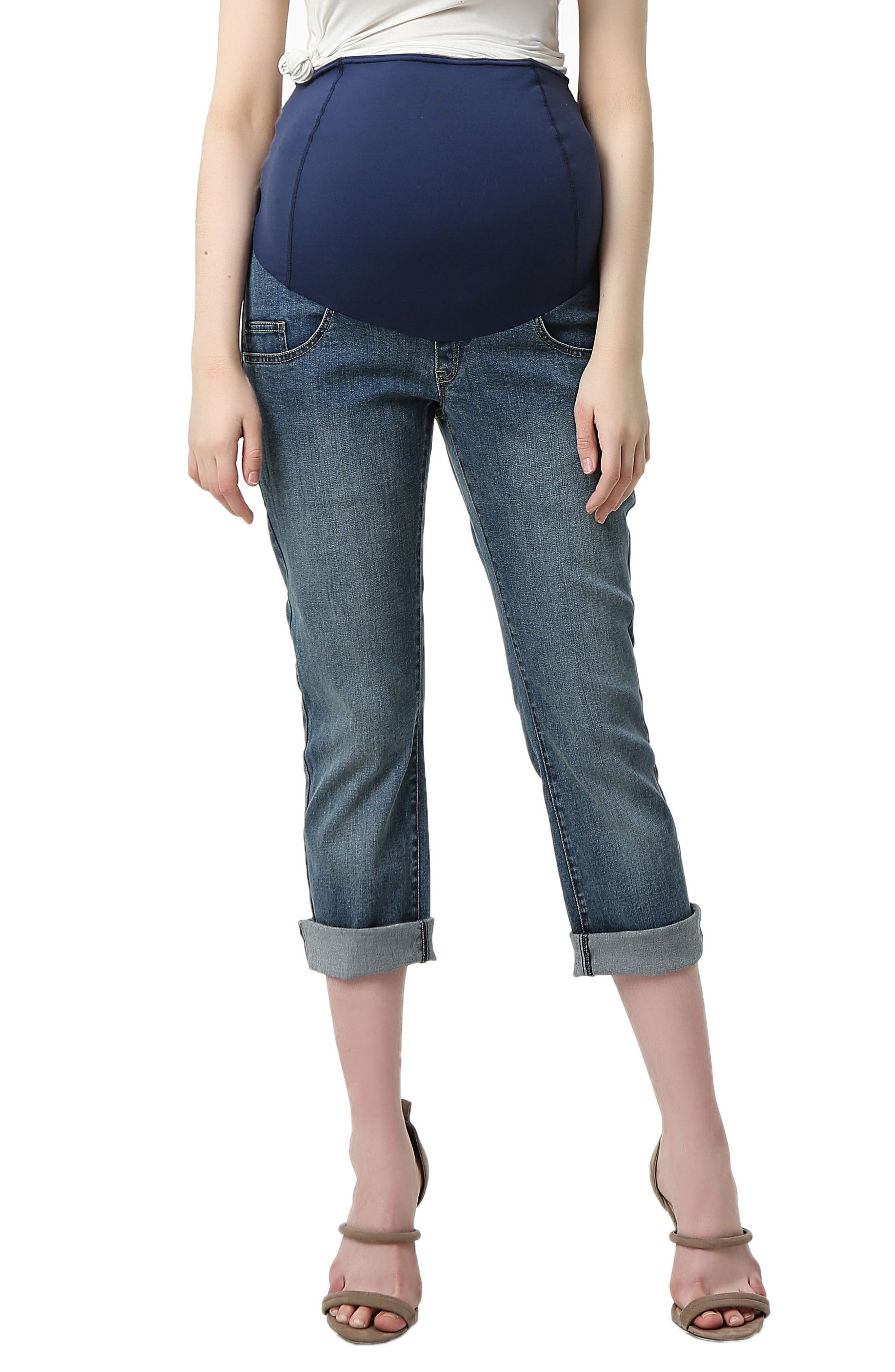 An elastic waistband with contoured panels reaches high on your midriff to securely cradle your baby bump, in girlfriend jeans containing stretch throughout. Style Name: Kimi And Kai Jodie Crop Girlfriend Maternity Jeans. Style Number: 5602981. Available in stores.