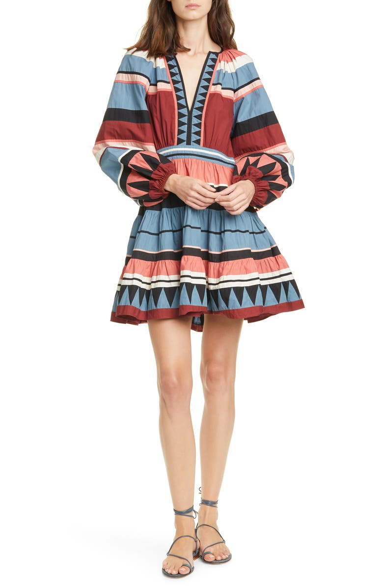 ULLA JOHNSON Mika Long Sleeve Minidress, Main, color, ROSE