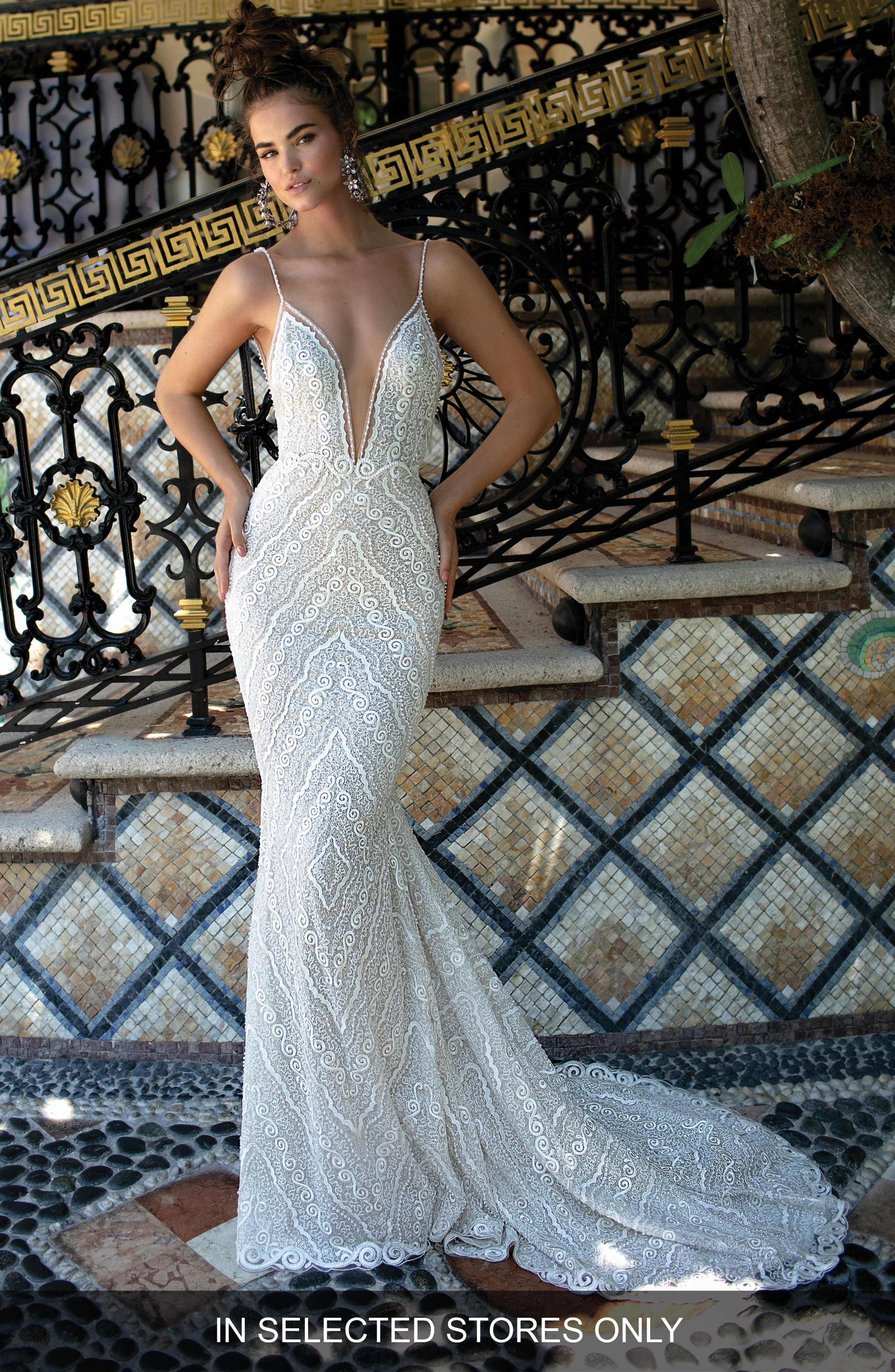 Berta Beaded Strap Embroidered Trumpet Gown, Size IN STORE ONLY - Ivory