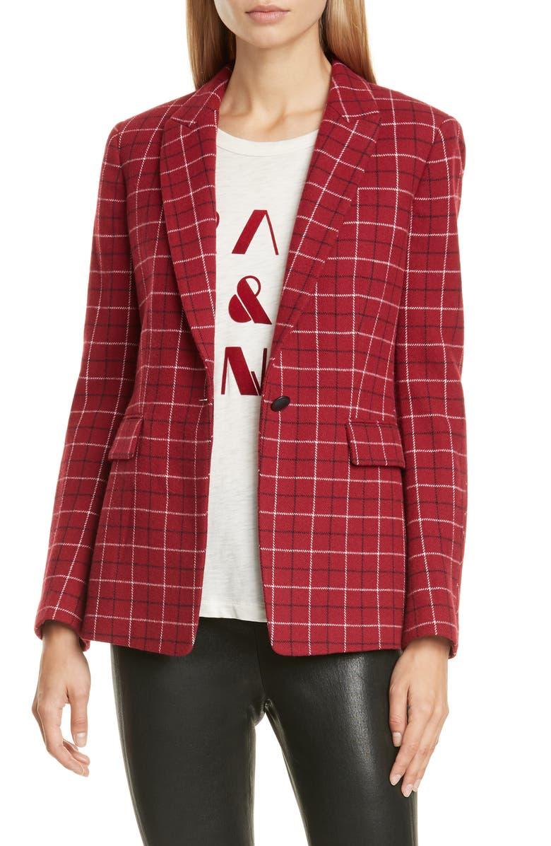 RAG & BONE Hazel Check Wool Blend Blazer, Main, color, REDCHK