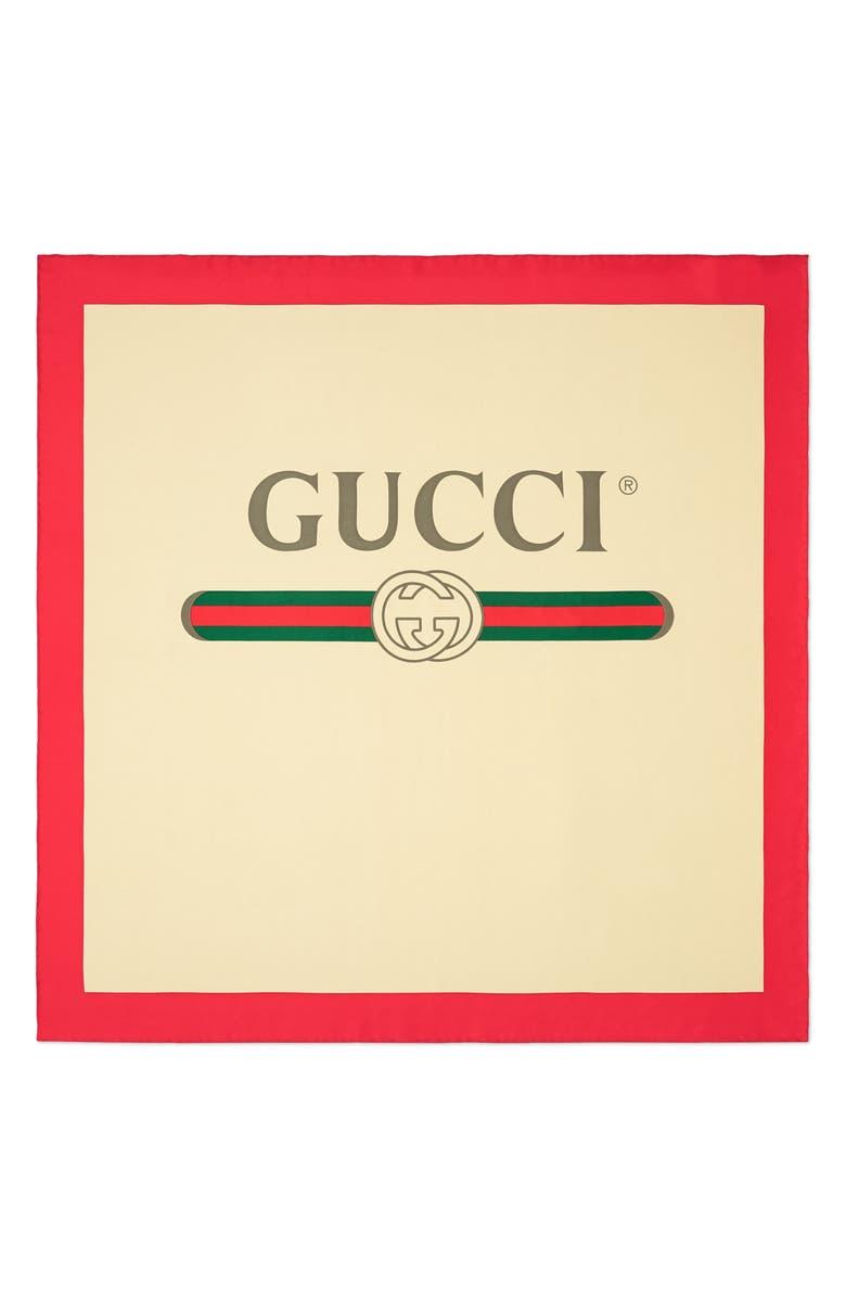GUCCI Future Logo Silk Twill Scarf, Main, color, 900