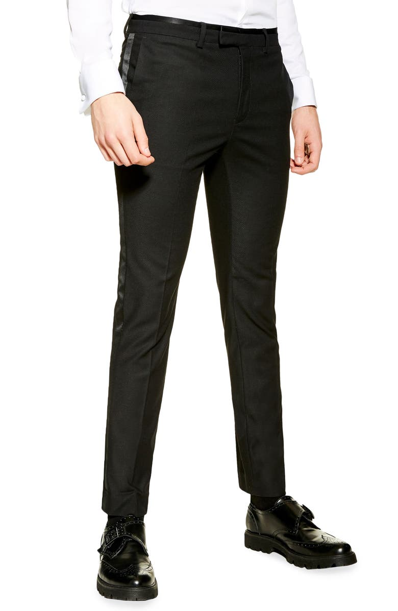 TOPMAN Skinny Fit Tuxedo Trousers, Main, color, BLACK