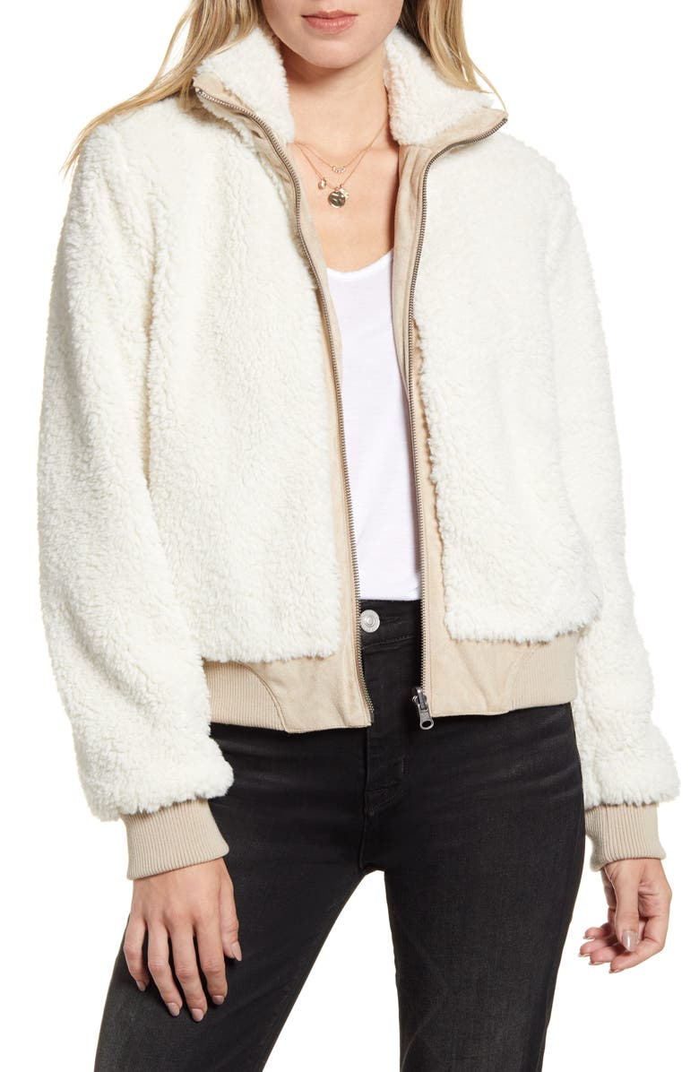 CUPCAKES AND CASHMERE Kendal Reversible Faux Suede & Fleece Bomber Jacket, Main, color, CAF AU LAIT