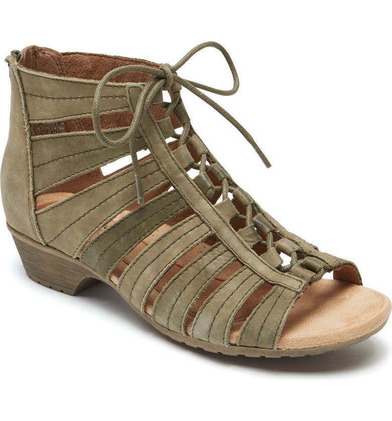 ROCKPORT COBB HILL 'Gabby' Lace-Up Sandal, Main, color, GREEN MULTI LEATHER