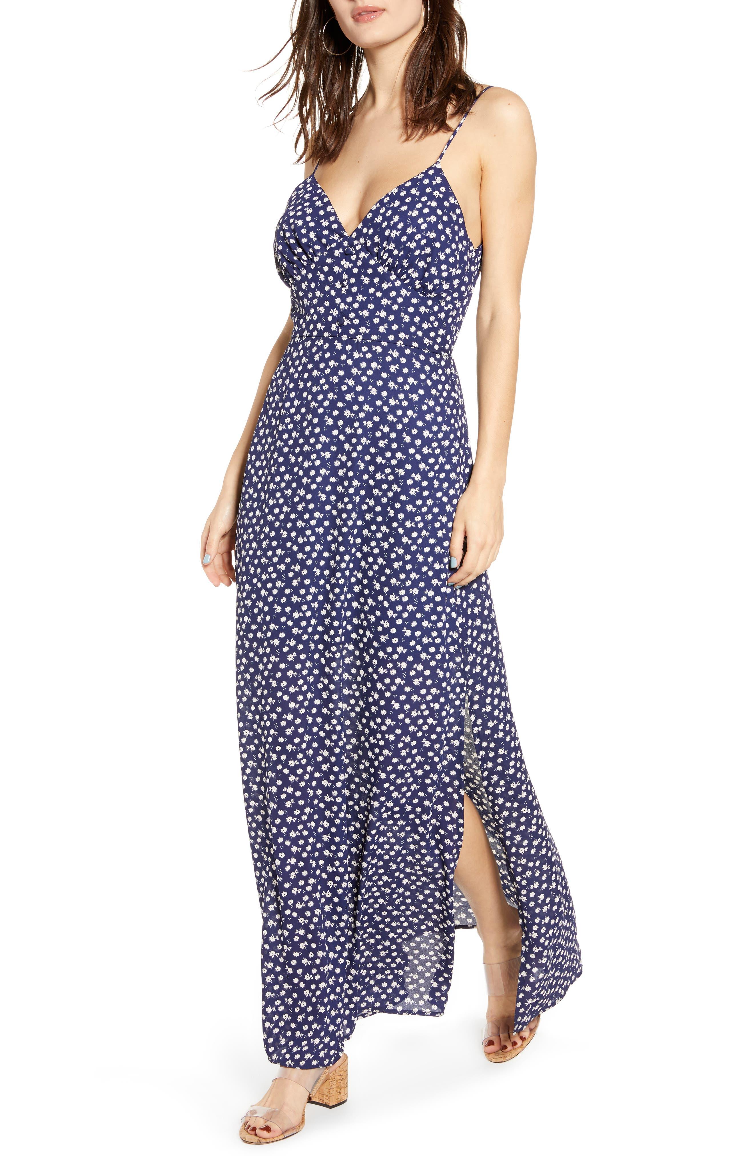 Row A Strappy Maxi Dress, Blue