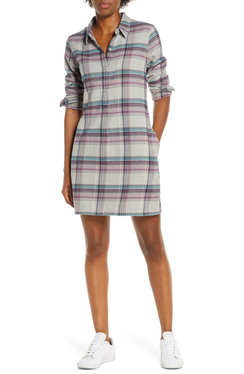 PATAGONIA Fjord Flannel Shirtdress, Main, color, CTDG CABIN TIME DRIFTER GREY