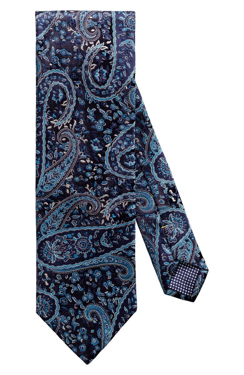 ETON Paisley Silk Tie, Main, color, BLUE