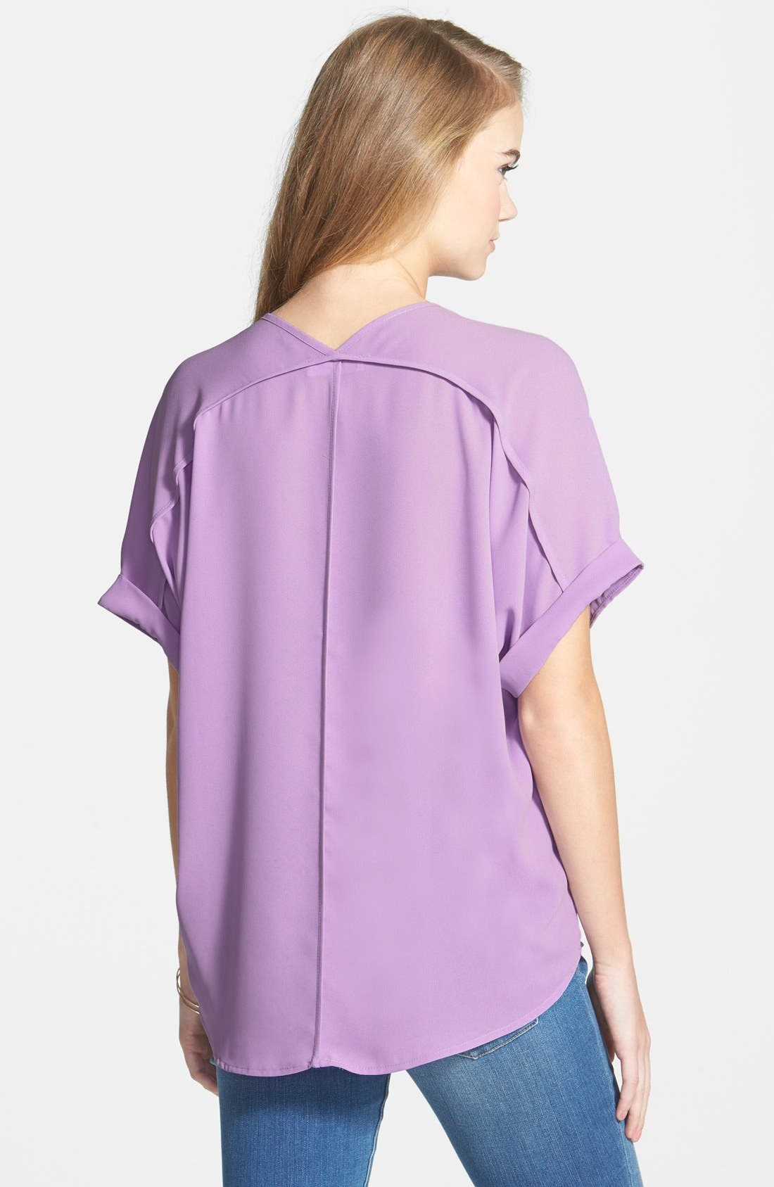 ,                             Lush Cuff Sleeve Woven Tee,                             Alternate thumbnail 133, color,                             502