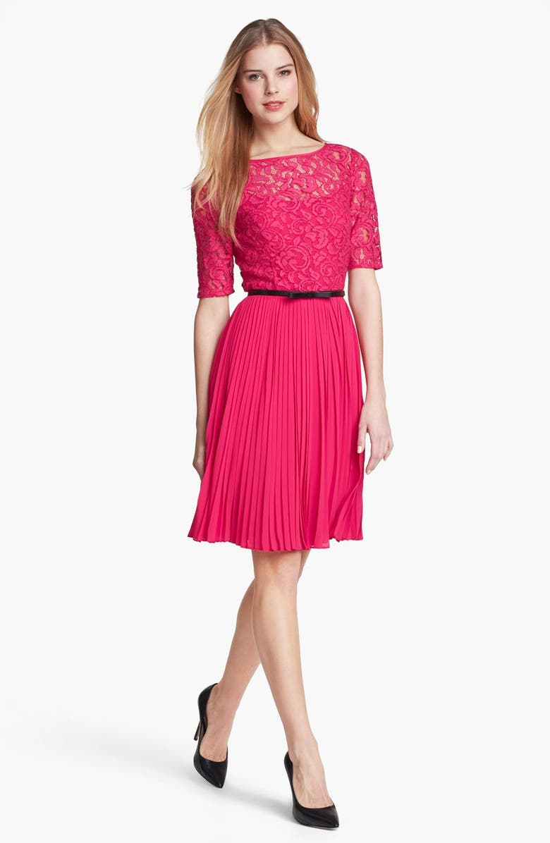 ADRIANNA PAPELL Lace Bodice Fit & Flare Dress, Main, color, 650