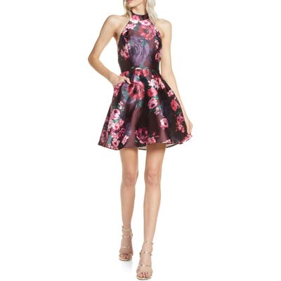 Sequin Hearts Printed Mikado Halter Minidress, Red