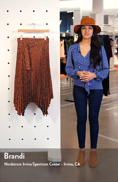 Tiny Leopard Pleated Belted Midi Skirt, sales video thumbnail