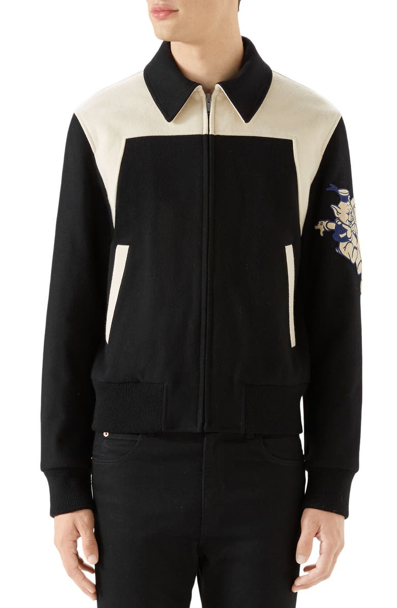 GUCCI Wool Bomber with Cat Appliqué, Main, color, BLACK AND WHITE