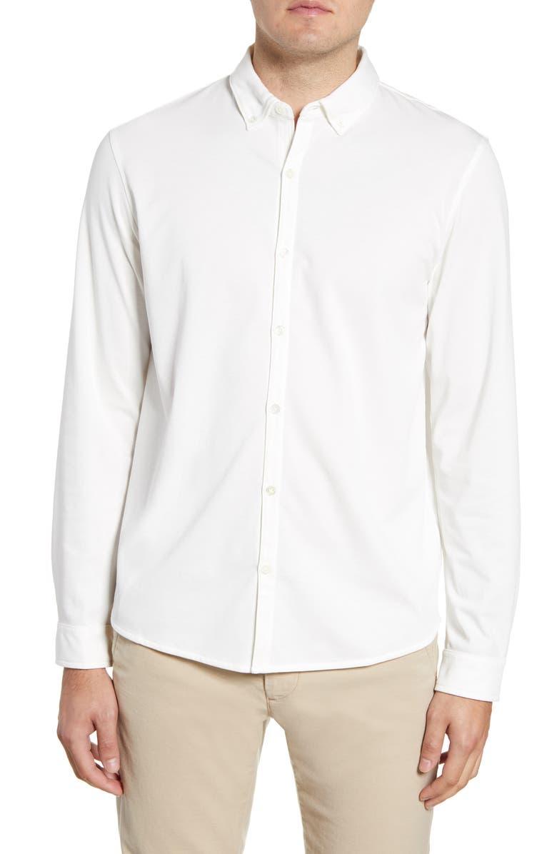 ZACHARY PRELL Glacier Regular Fit Button-Down Cotton Blend Knit Shirt, Main, color, WHITE