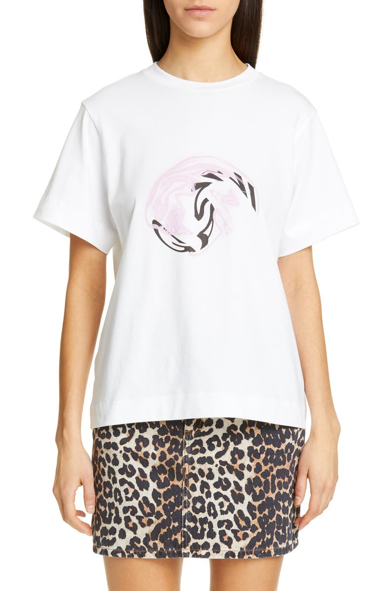 GANNI Logo Tee, Main, color, BRIGHT WHITE