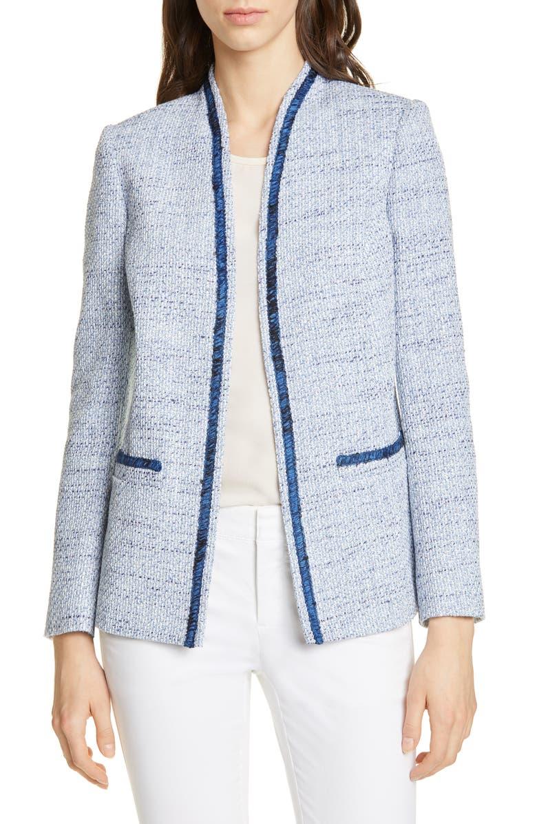HELENE BERMAN Colette Cotton Blend Tweed Jacket, Main, color, 400