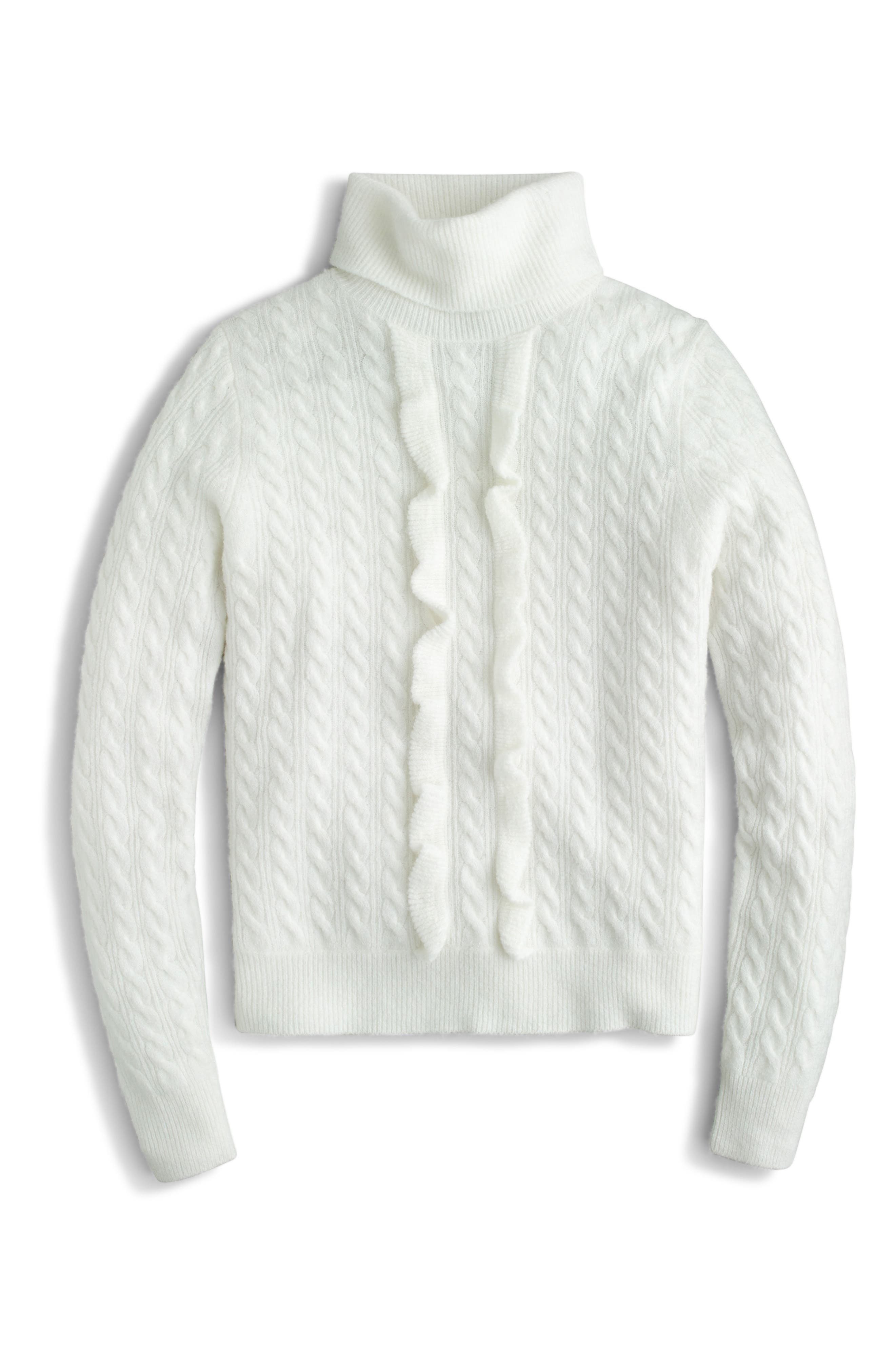 J.Crew Supersoft Ruffle Front Turtleneck (Regular & Plus Size)