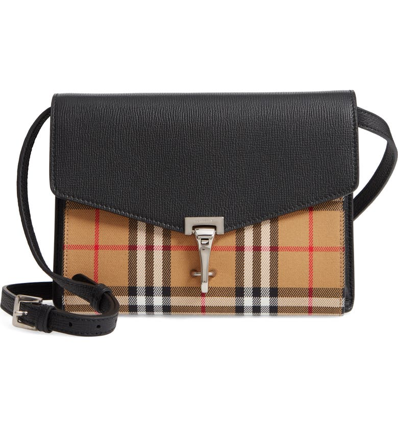 BURBERRY Small Macken Vintage Check Crossbody Bag, Main, color, BLACK