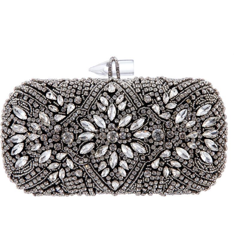 NINA Gelsey Crystal Embellished Minaudière, Main, color, BLACK/ WHITE