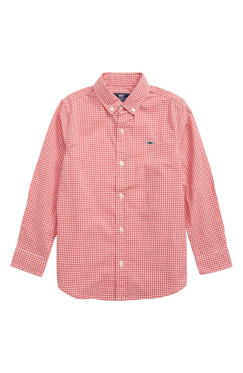 VINEYARD VINES Arawak Gingham Poplin Whale Shirt, Main, color, SAILORS RED