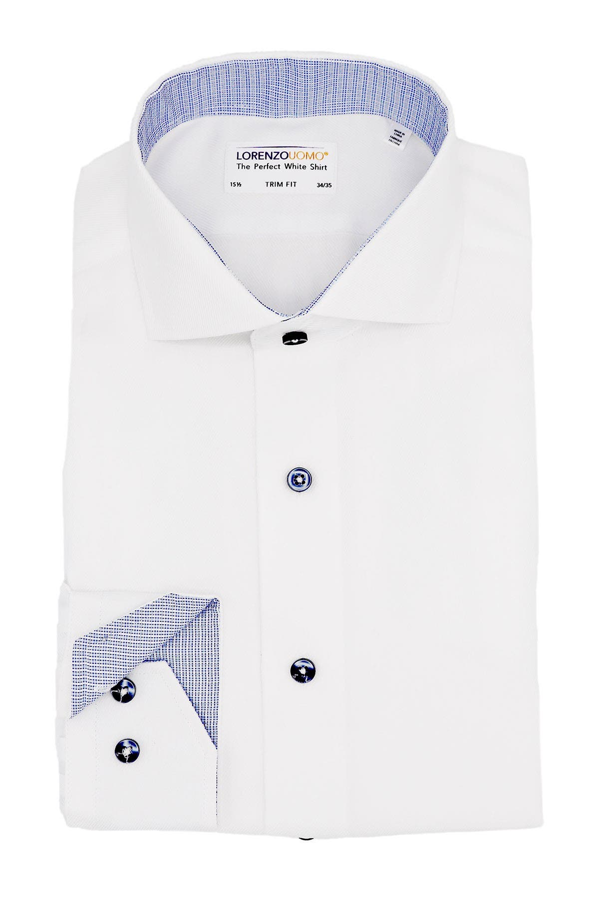 Image of Lorenzo Uomo Solid Diagonal Twill Non-Iron Trim Fit Dress Shirt