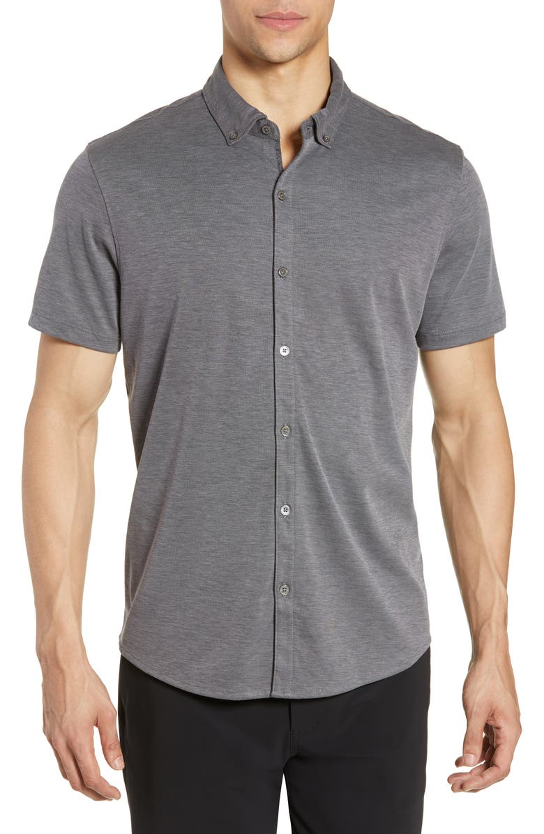 ZACHARY PRELL Caruth Regular Fit Short Sleeve Shirt, Main, color, CHARCOAL