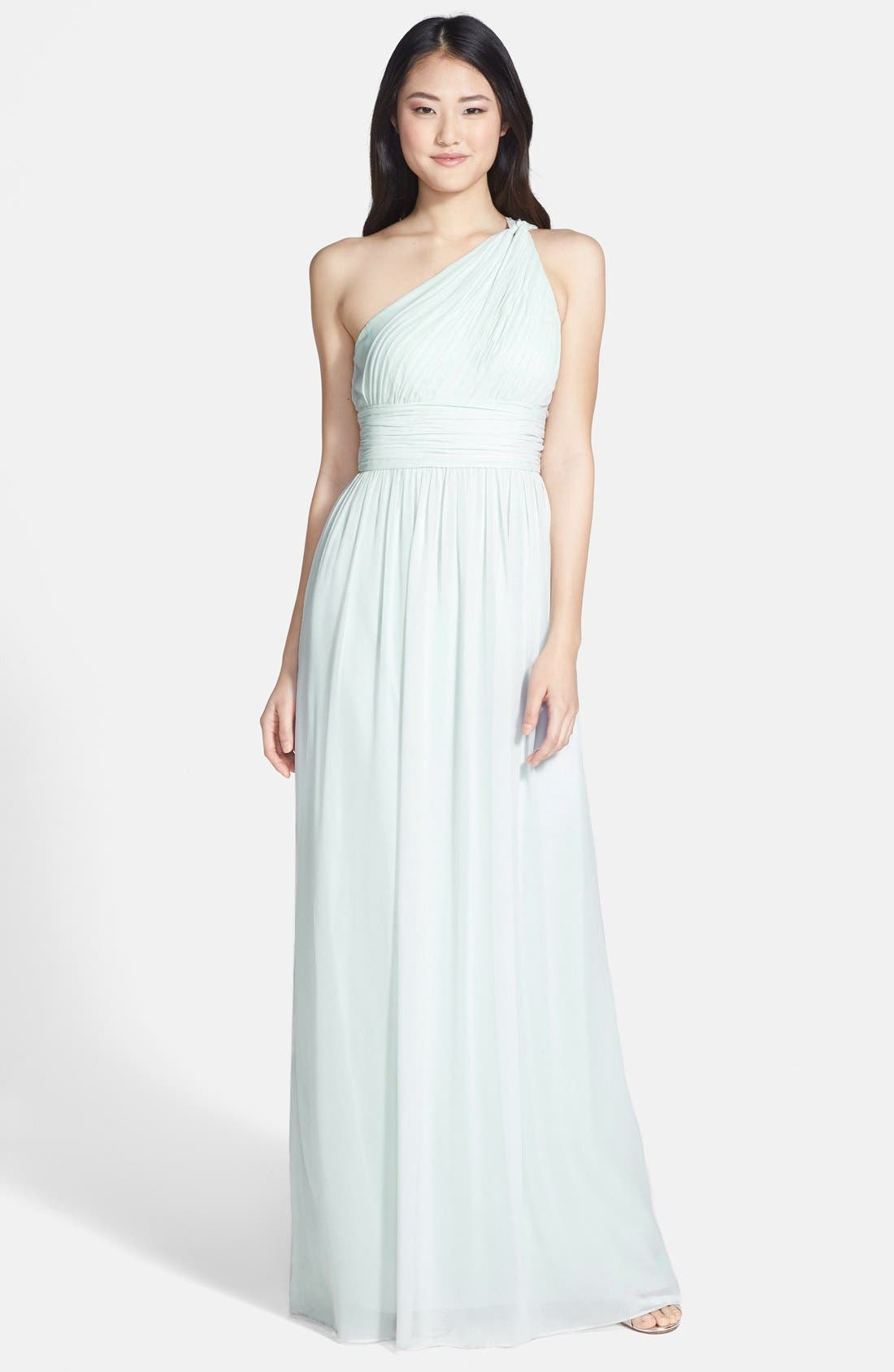 ,                             'Rachel' Ruched One-Shoulder Chiffon Gown,                             Main thumbnail 35, color,                             303