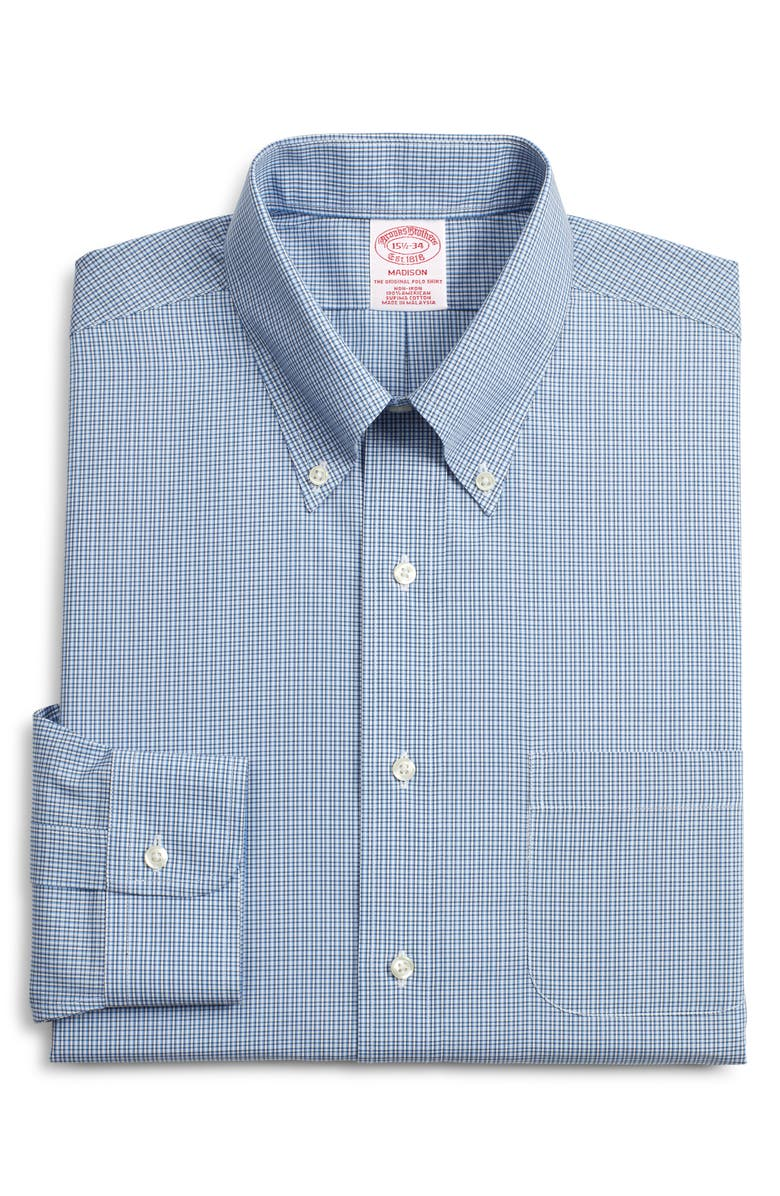 BROOKS BROTHERS Madison Classic Fit Plaid Dress Shirt, Main, color, BLUE