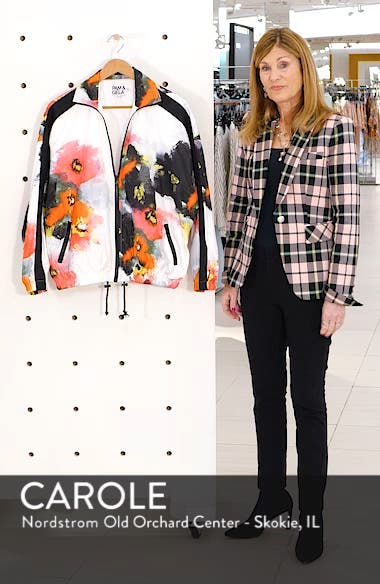 Floral Stand Collar Zip Front Jacket, sales video thumbnail