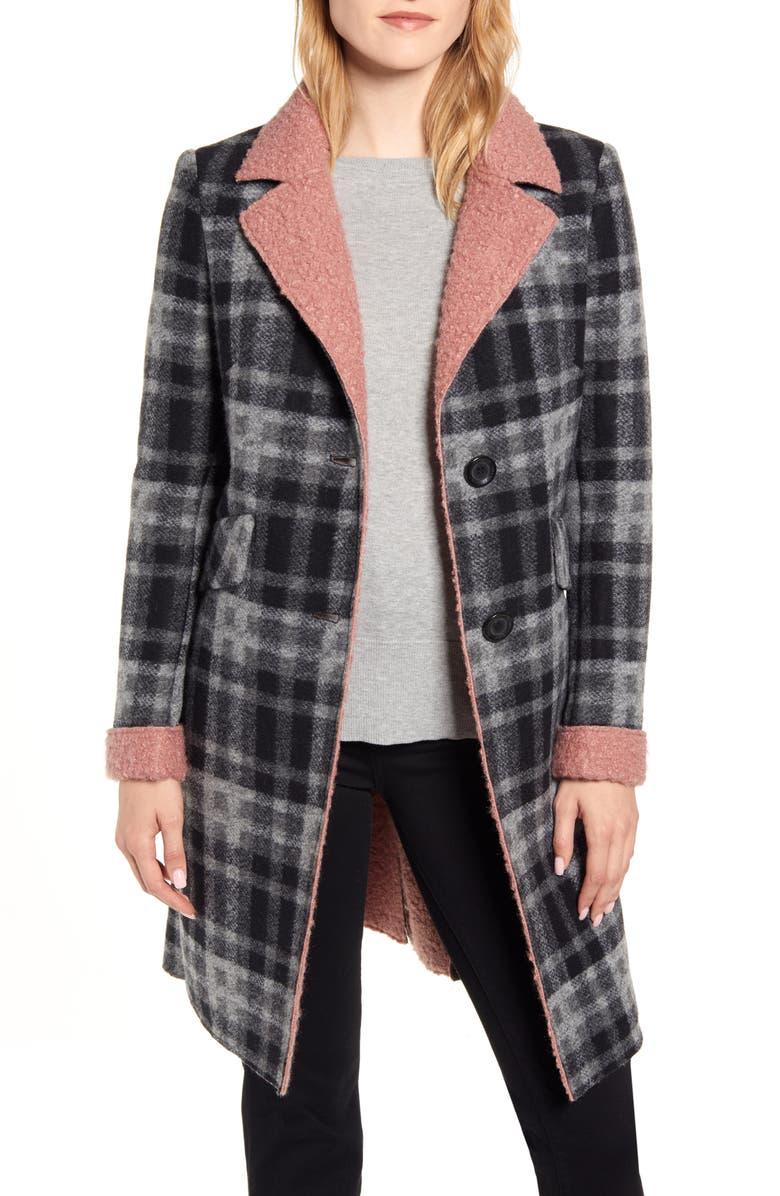 SAM EDELMAN Faux Shearling Trim Plaid Coat, Main, color, 019