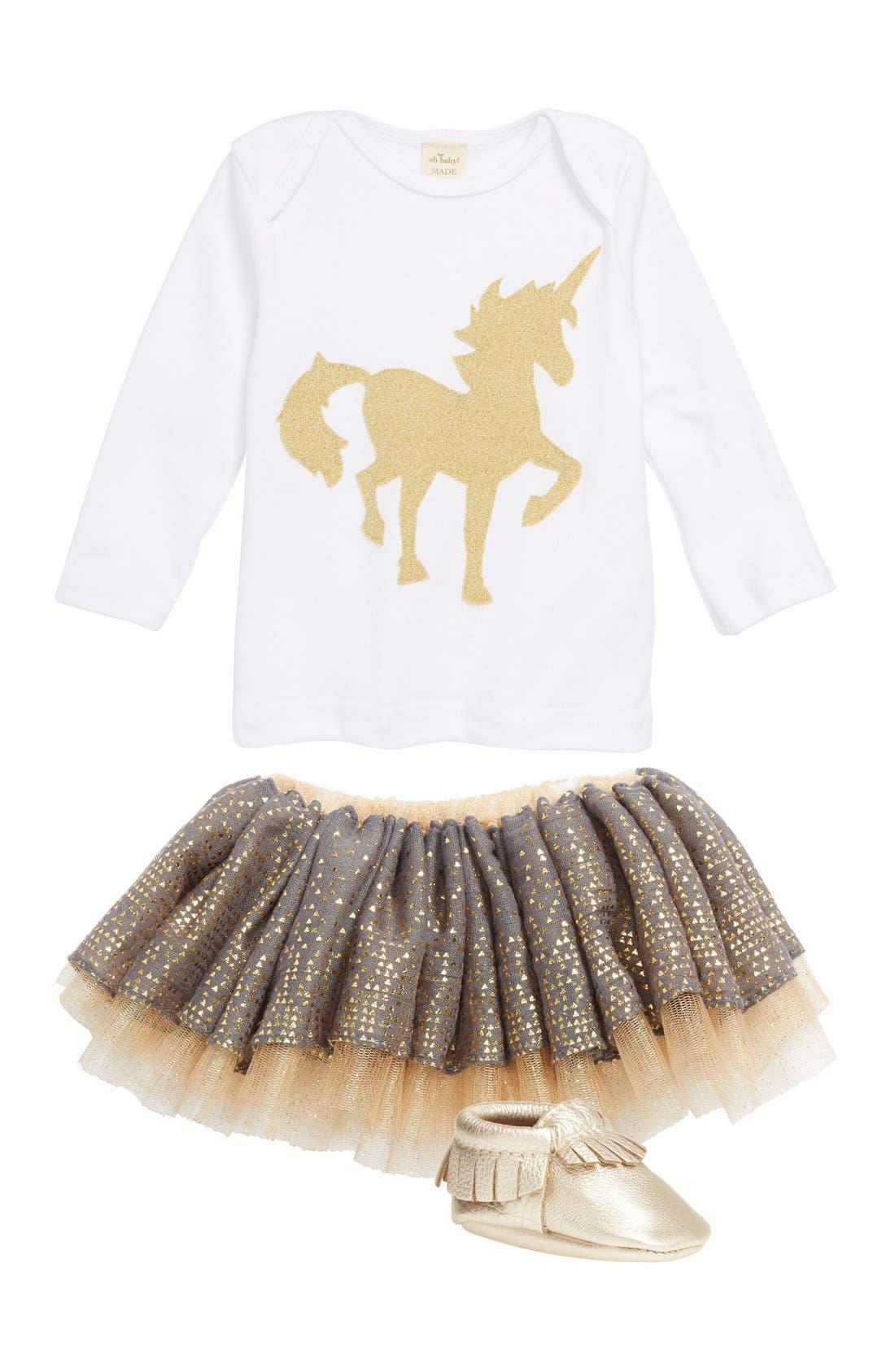 ,                             ! 'Gold Unicorn' Long Sleeve Cotton Top,                             Alternate thumbnail 2, color,                             100