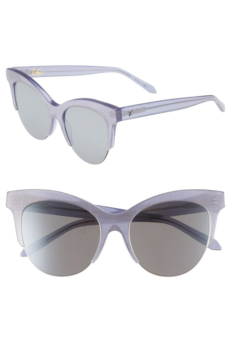 VOW LONDON Cody 53mm Cat Eye Sunglasses, Main, color, LILAC GLITTER/ SMOKE