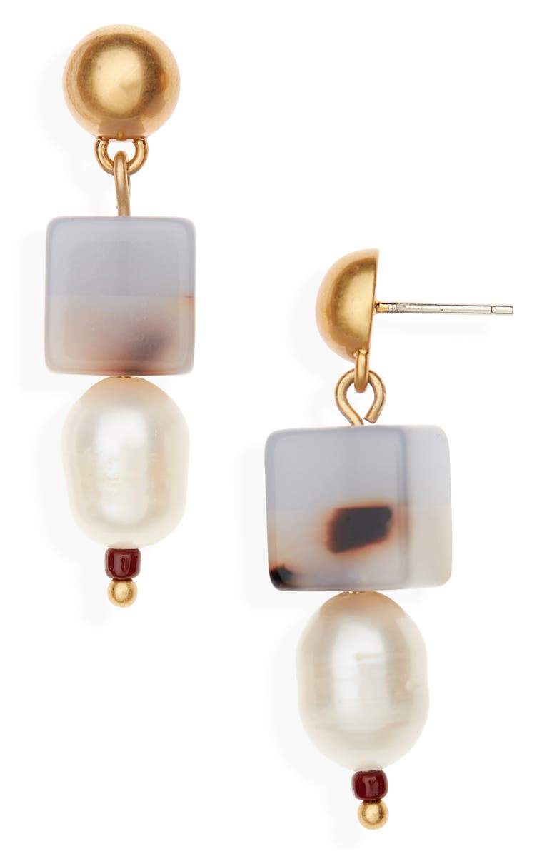MADEWELL Colorblock Bead Pearl Earrings, Main, color, 400