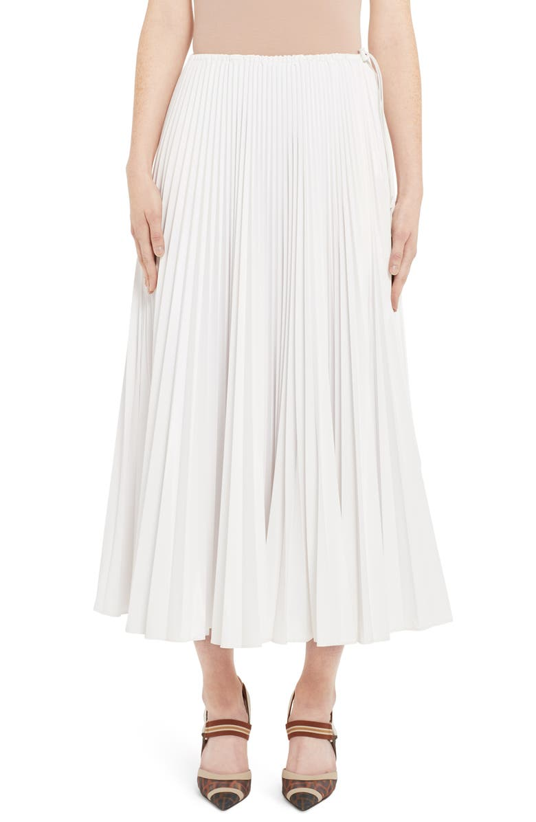 FENDI Drawcord Waist Pleated Midi Skirt, Main, color, WHITE