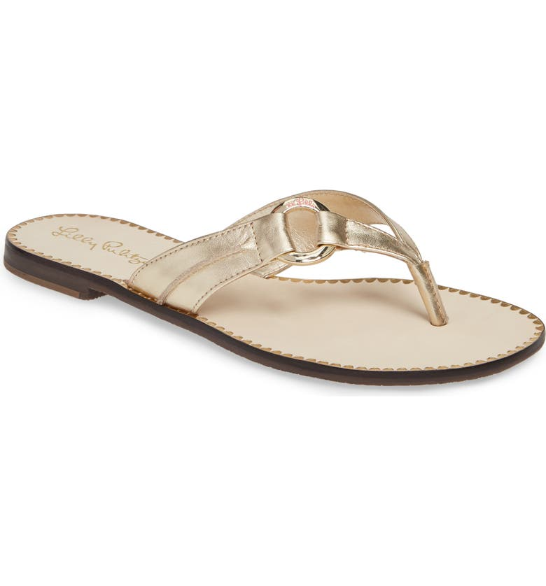 LILLY PULITZER<SUP>®</SUP> Marina Flip Flop, Main, color, GOLD METALLIC LEATHER