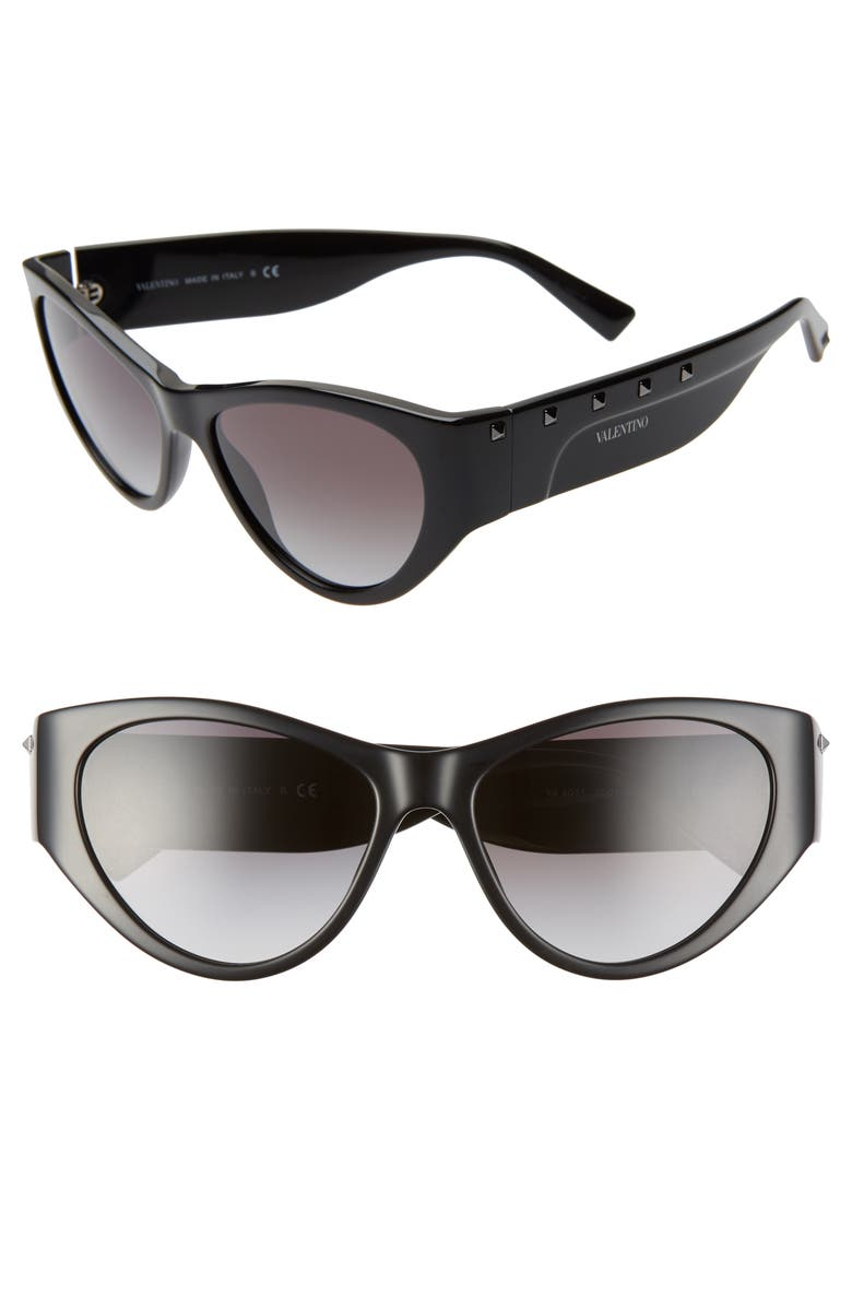 VALENTINO 55mm Rockstud Cat Eye Sunglasses, Main, color, 001