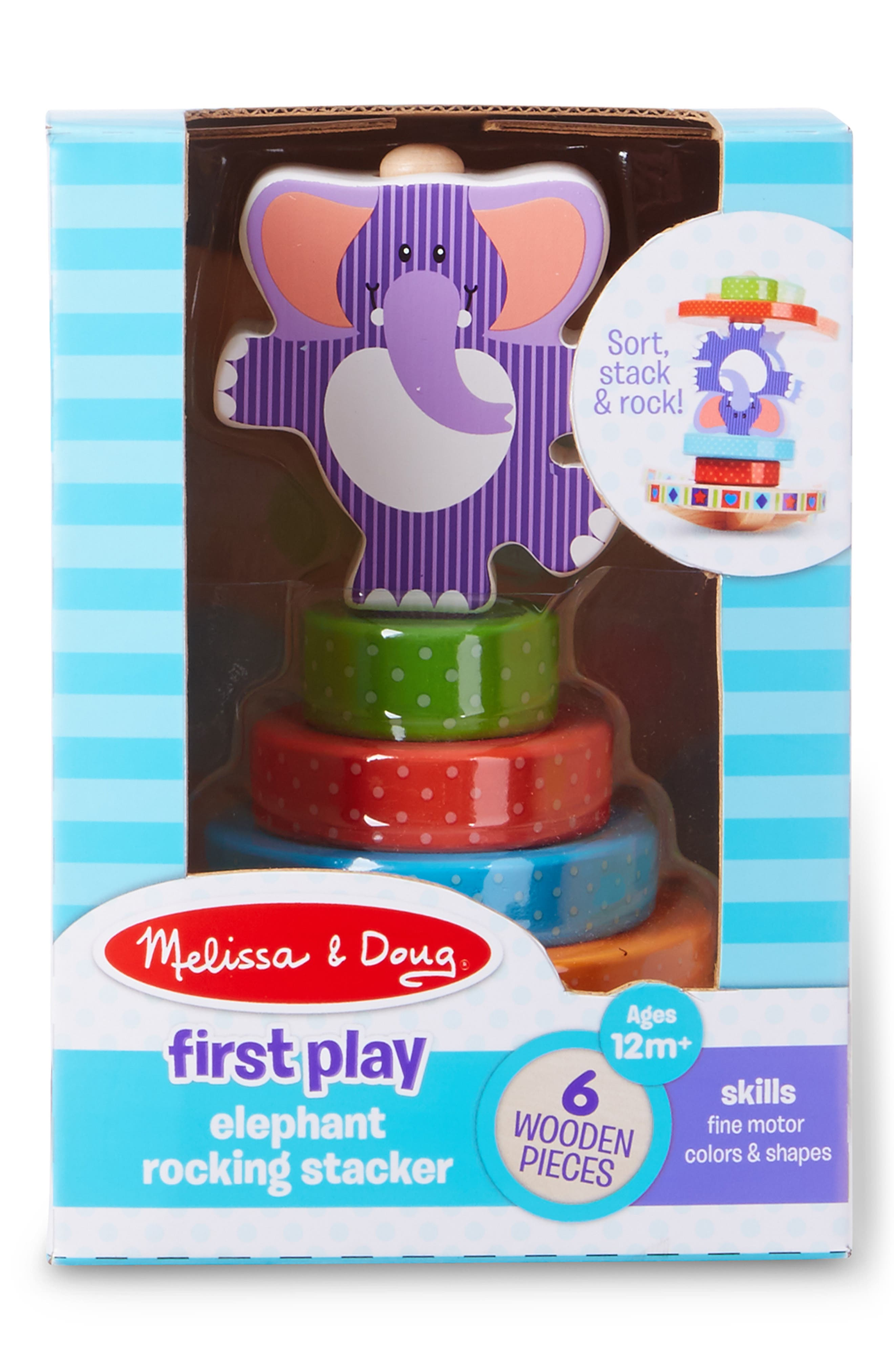 First Play Elephant Rocking Stacker, Main, color, MULTICOLORED