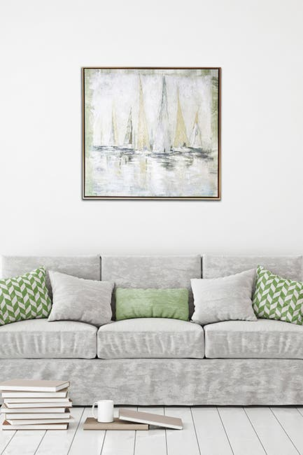 """Image of Gallery 57 Soft Sailboats Floating Canvas Wall Art - 29"""" x 29"""""""