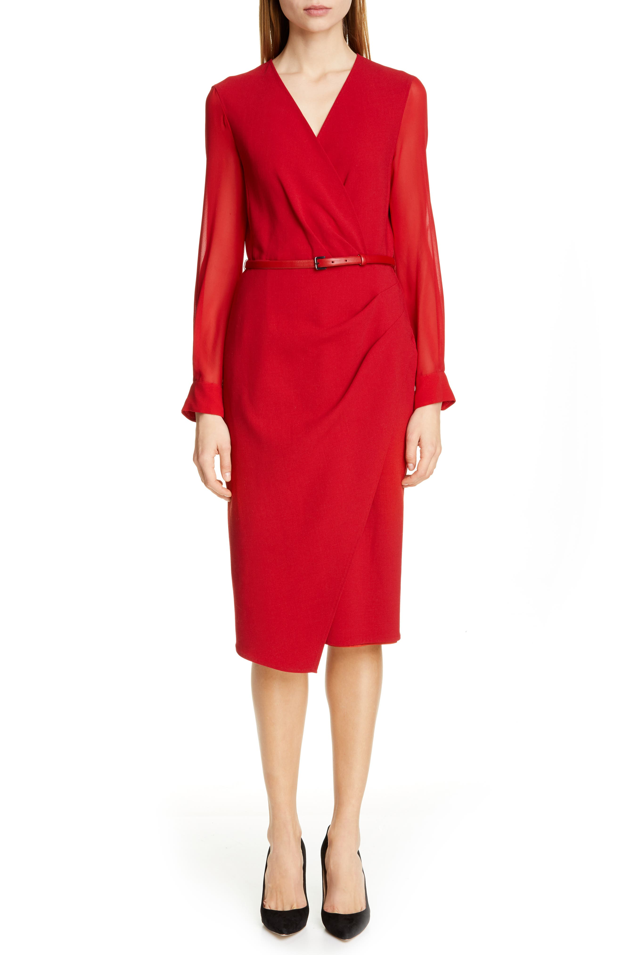 Max Mara Manuel Long Sleeve Faux Wrap Dress, Red