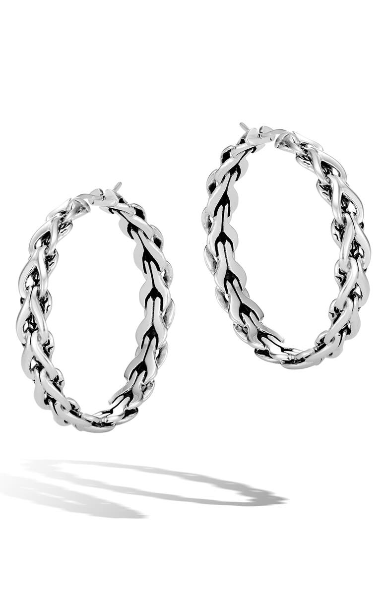 JOHN HARDY Medium Asli Hoop Earrings, Main, color, SILVER