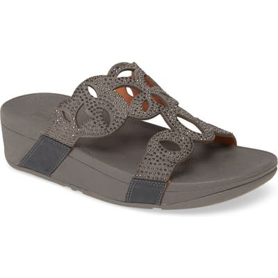 Fitflop Elora Crystal Slide Sandal, Grey