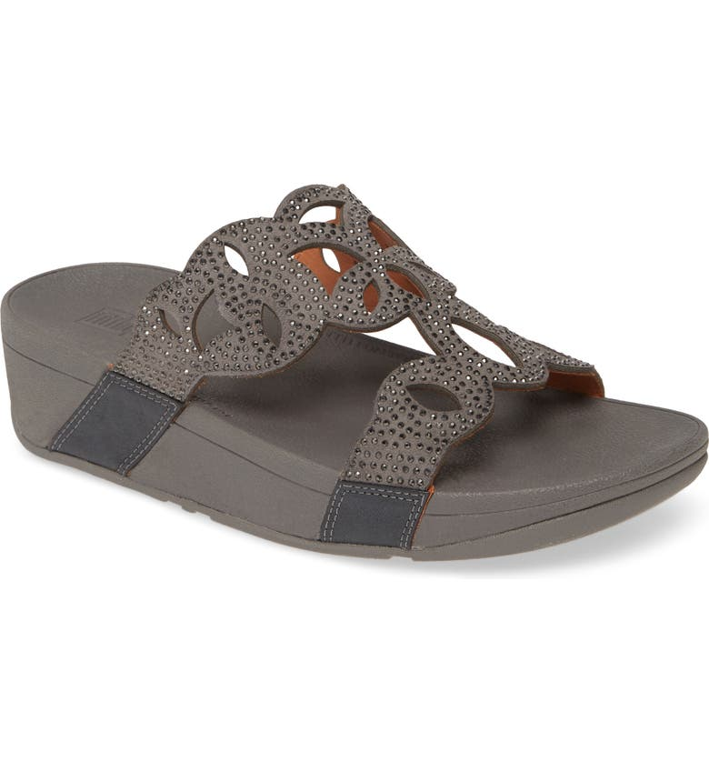 FITFLOP Elora Crystal Slide Sandal, Main, color, PEWTER LEATHER