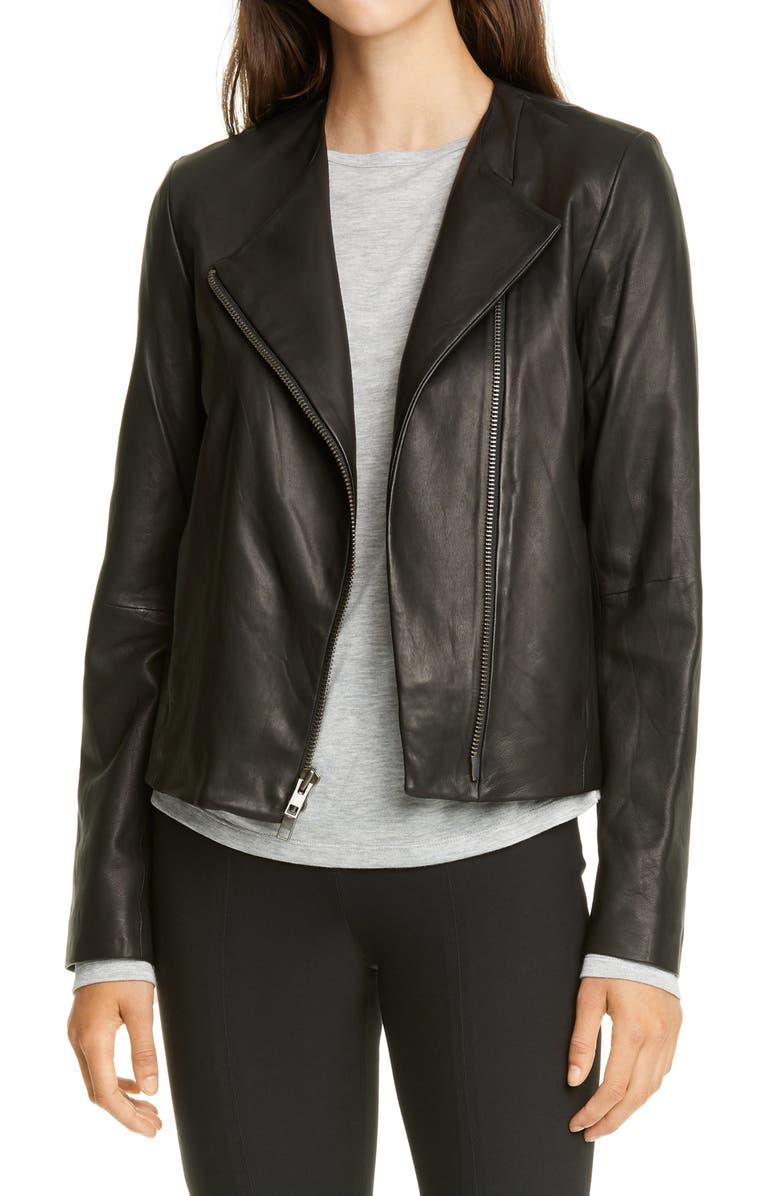 VINCE Zip Cross Front Leather Jacket, Main, color, BLACK