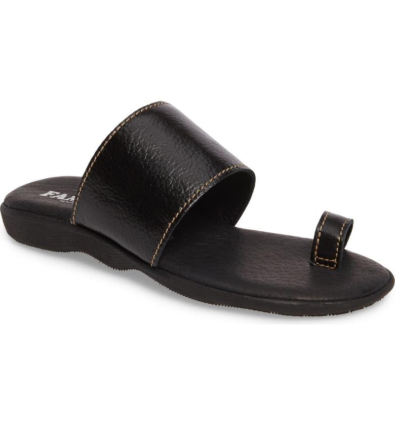 FAMOLARE Band & Deliver Toe Loop Slide Sandal, Main, color, COAL LEATHER