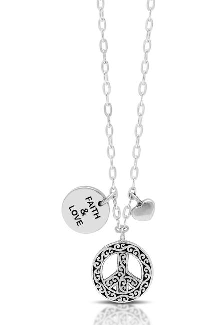 Image of Lois Hill Sterling Silver Peace Sign & Flat Scroll Disc Charm Neck