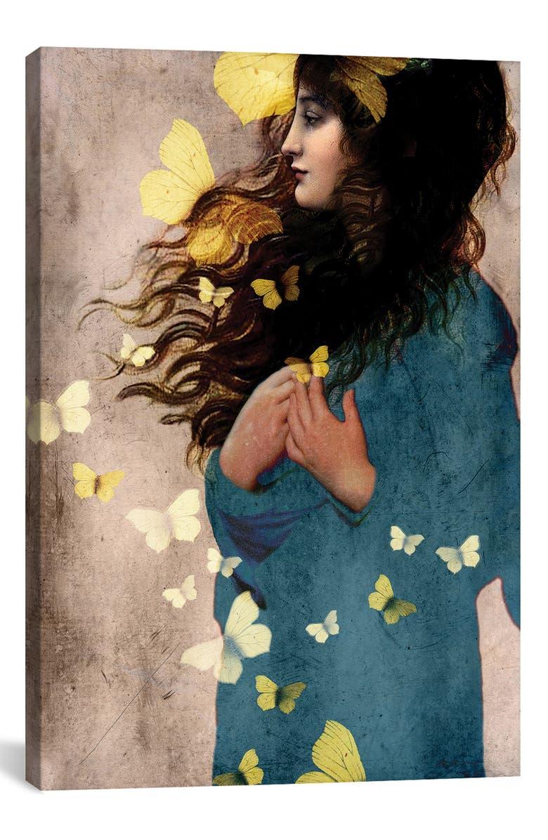 ICANVAS Bye Bye Butterfly by Catrin Welz-Stein Giclée Print Canvas Art, Main, color, BLUE/ GREEN